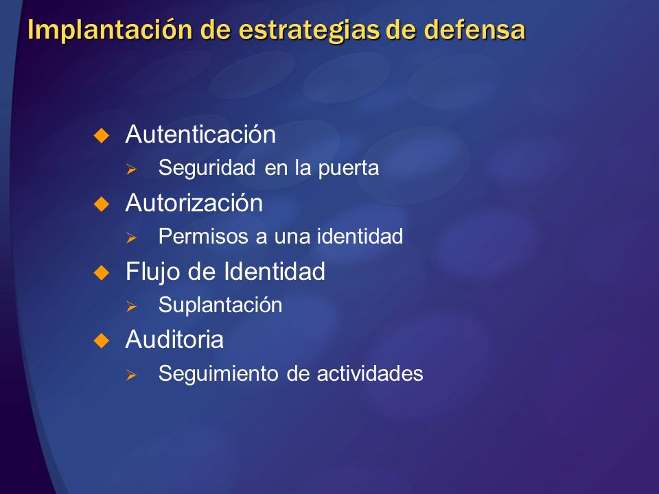 Implantación de estrategias de defensa