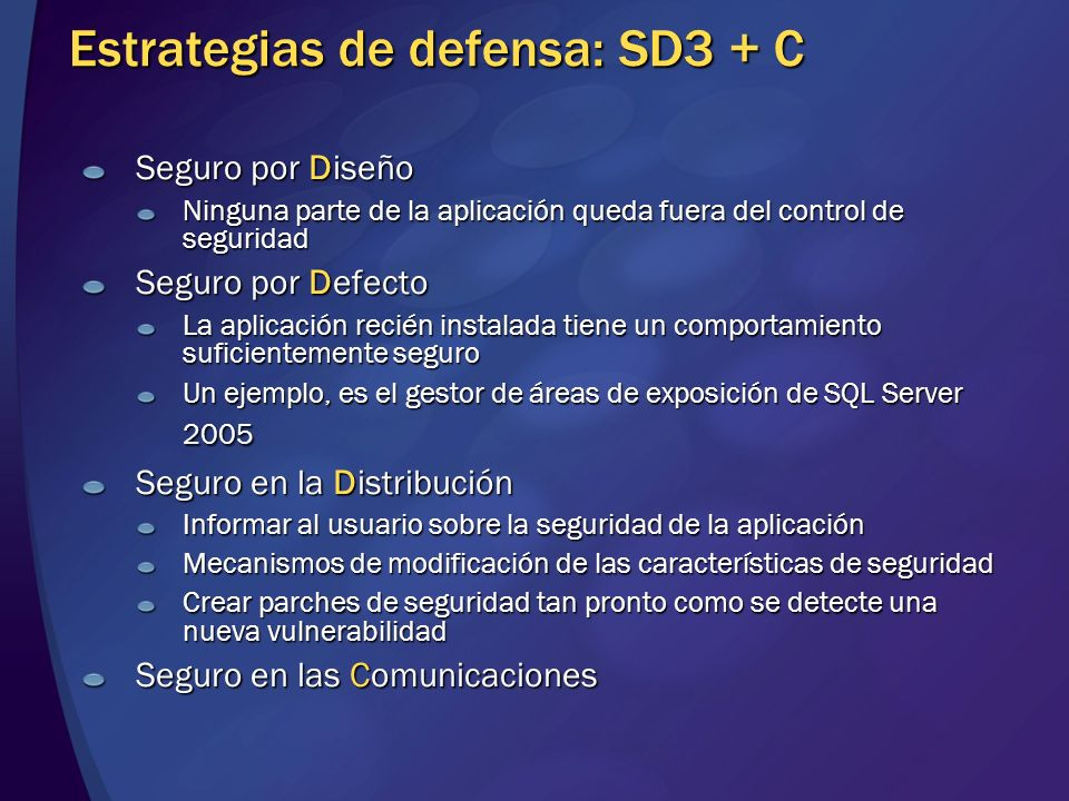 Estrategias de defensa: SD3 + C