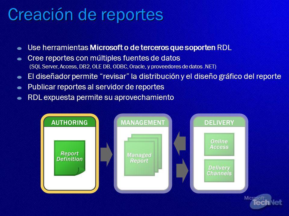 Creación de reportes Use herramientas Microsoft o de terceros que soporten RDL.