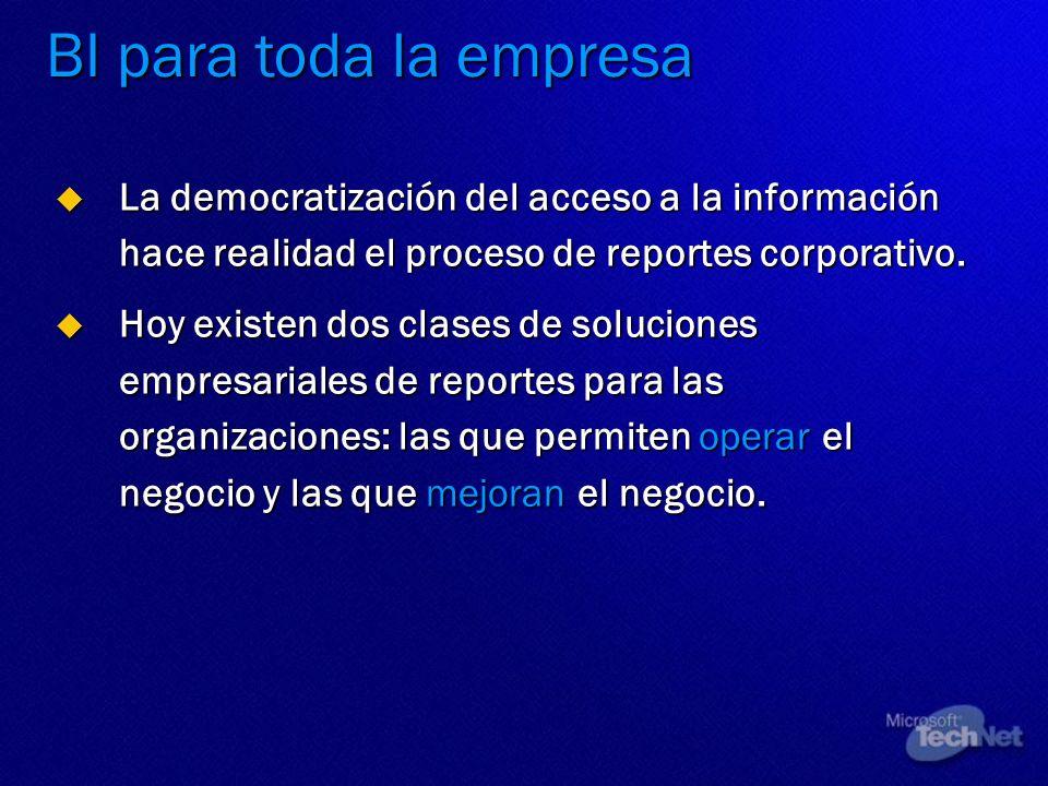 BI para toda la empresa La democratización del acceso a la información hace realidad el proceso de reportes corporativo.