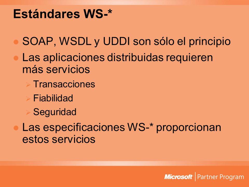 Estándares WS-* SOAP, WSDL y UDDI son sólo el principio