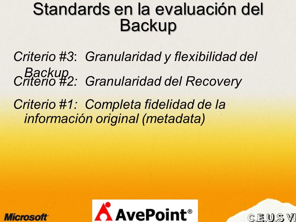 Standards en la evaluación del Backup