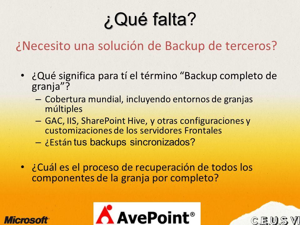 ¿Qué falta ¿Necesito una solución de Backup de terceros