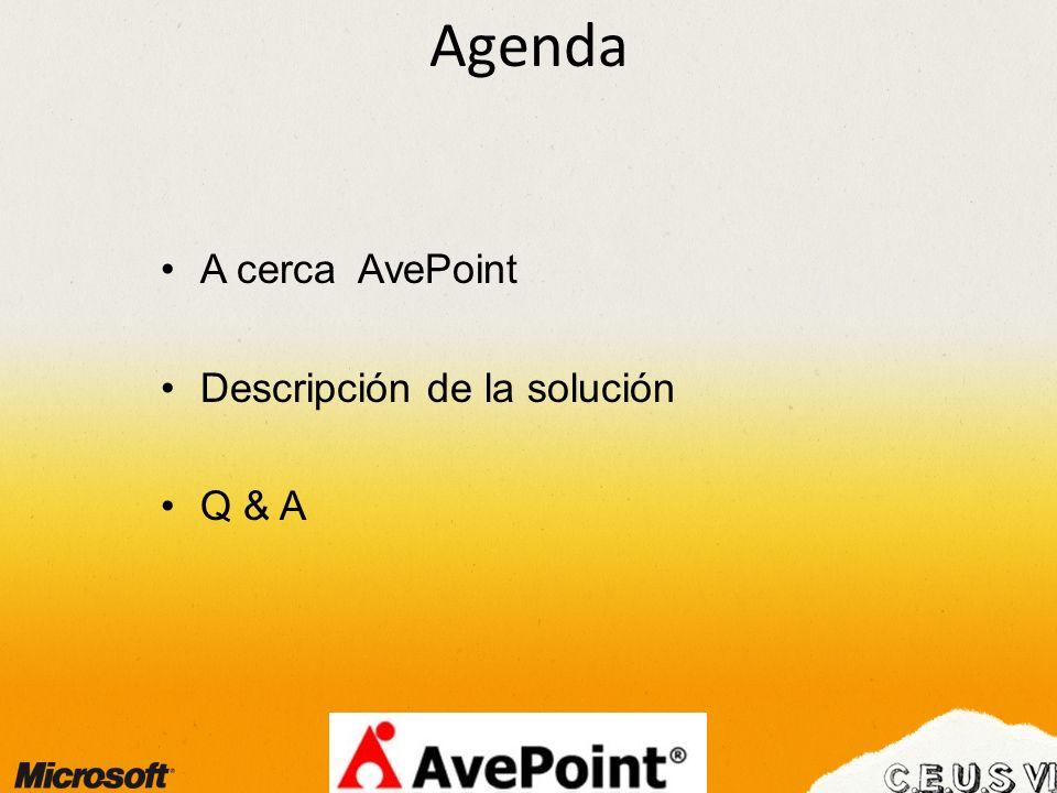 Agenda A cerca AvePoint Descripción de la solución Q & A