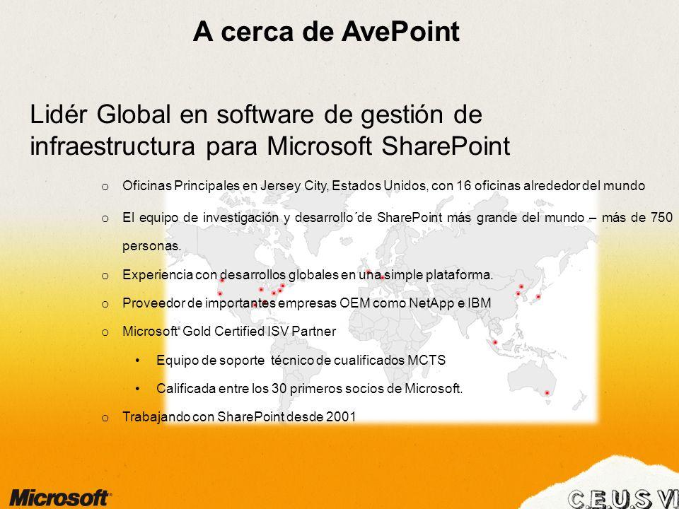 A cerca de AvePointLidér Global en software de gestión de infraestructura para Microsoft SharePoint.