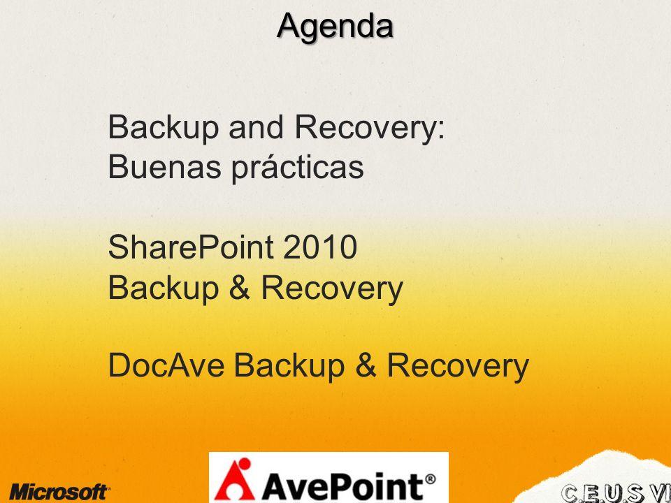 Agenda Backup and Recovery: Buenas prácticas SharePoint 2010