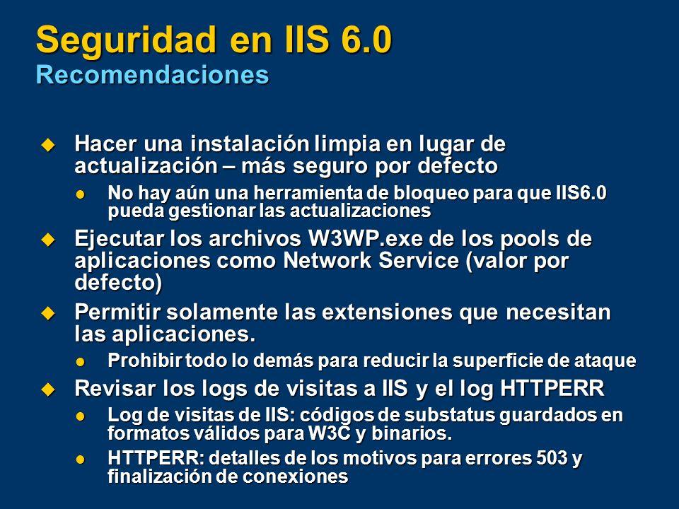 Seguridad en IIS 6.0 Recomendaciones
