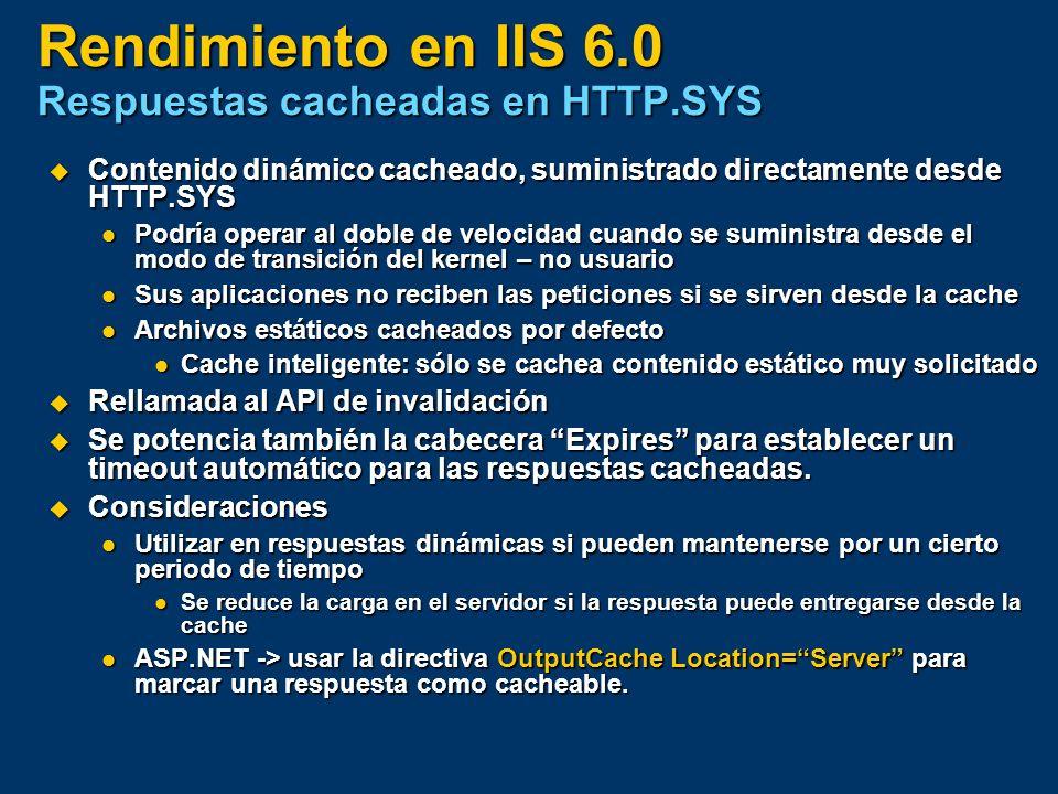 Rendimiento en IIS 6.0 Respuestas cacheadas en HTTP.SYS