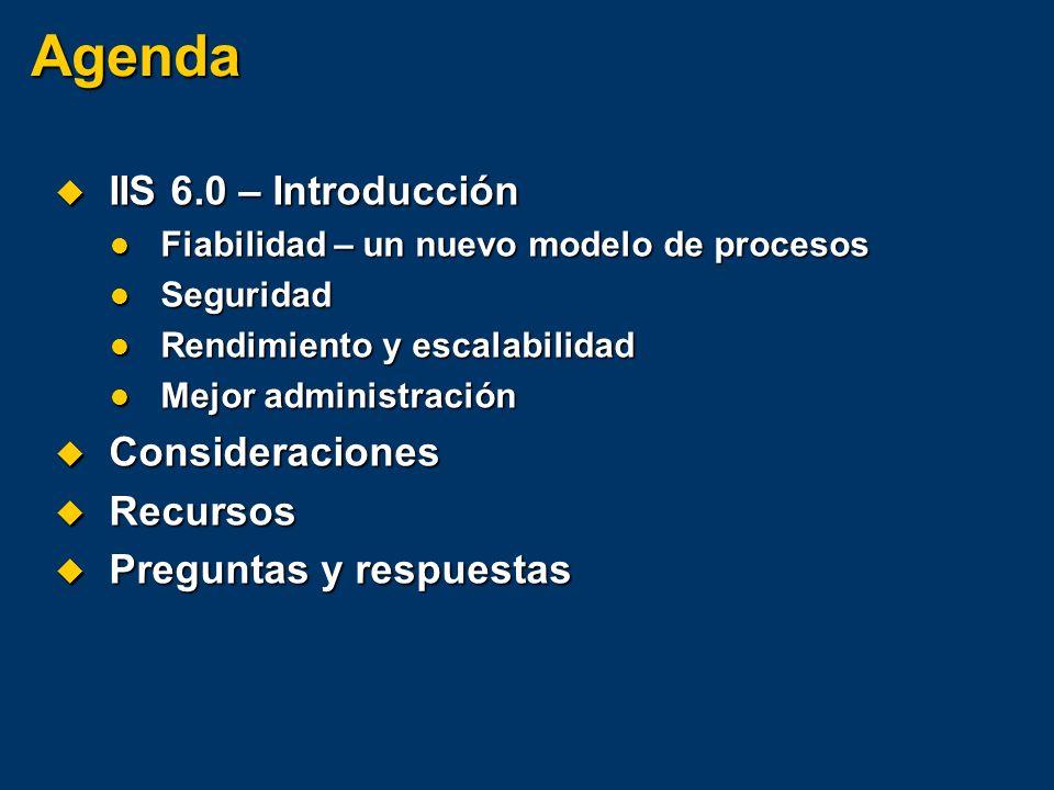 Agenda IIS 6.0 – Introducción Consideraciones Recursos