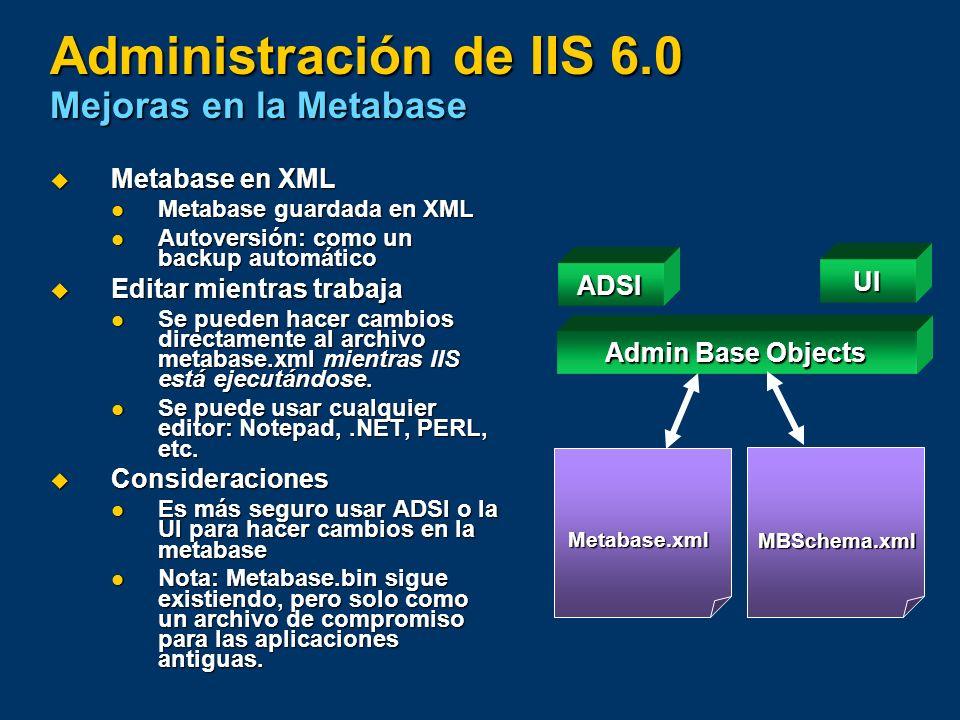 Administración de IIS 6.0 Mejoras en la Metabase