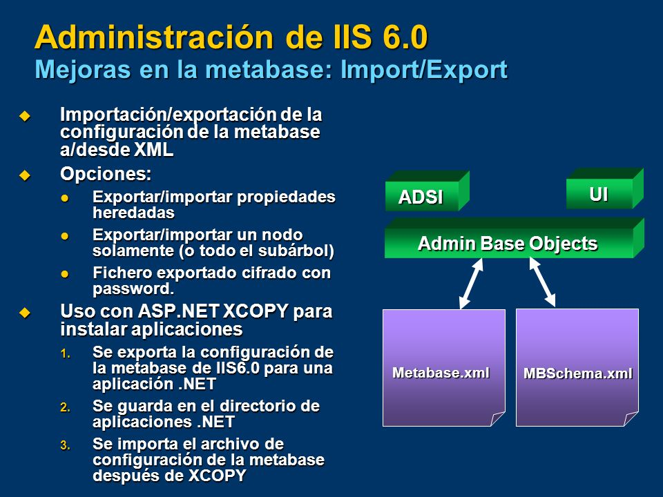 Administración de IIS 6.0 Mejoras en la metabase: Import/Export