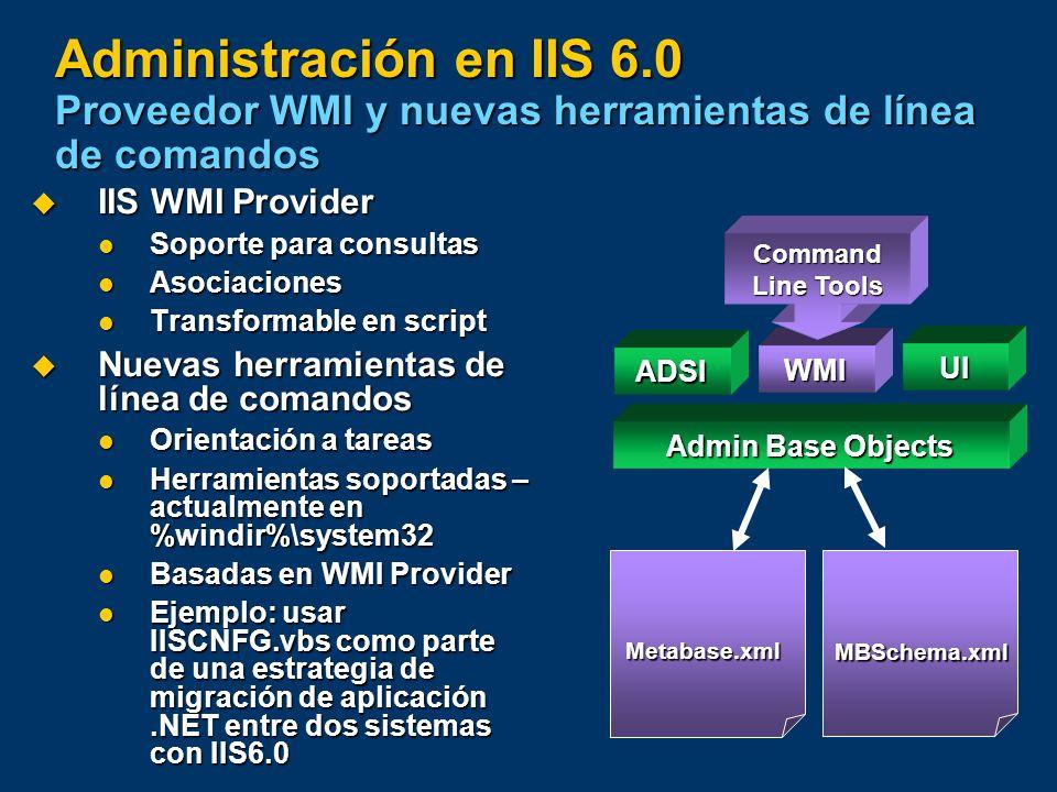 Administración en IIS 6.0 Proveedor WMI y nuevas herramientas de línea de comandos