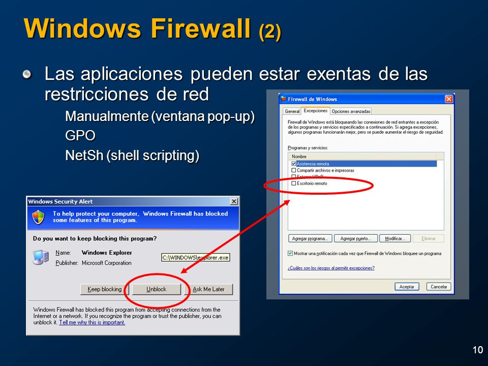 2004 MVP Global Summit April 4-7, 2004. Windows Firewall (2) Las aplicaciones pueden estar exentas de las restricciones de red.