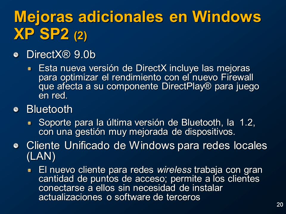 Mejoras adicionales en Windows XP SP2 (2)