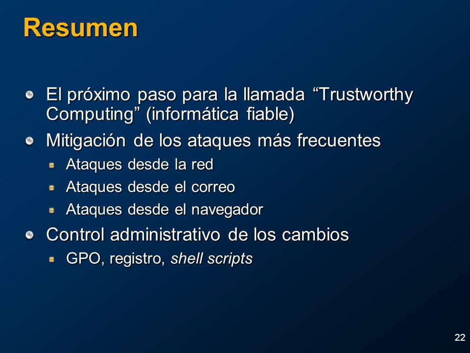 2004 MVP Global SummitApril 4-7, 2004. Resumen. El próximo paso para la llamada Trustworthy Computing (informática fiable)