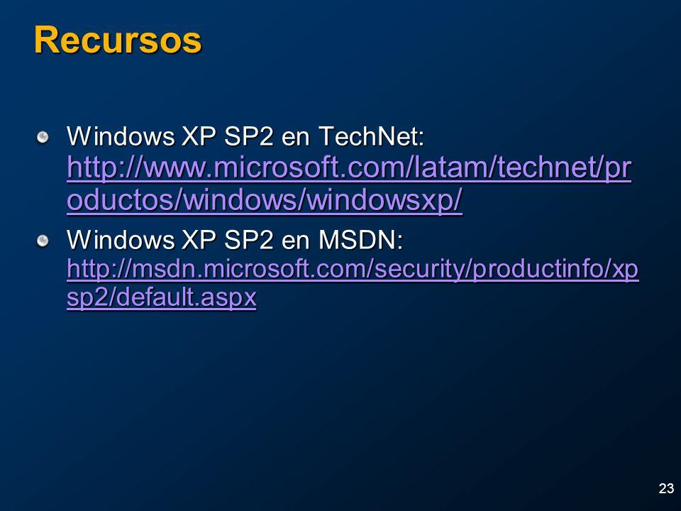 2004 MVP Global SummitApril 4-7, 2004. Recursos. Windows XP SP2 en TechNet: http://www.microsoft.com/latam/technet/productos/windows/windowsxp/