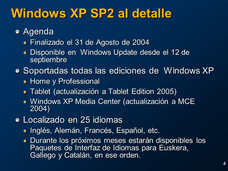Windows XP SP2 al detalle