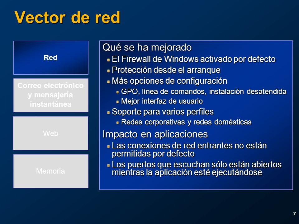 Vector de red Qué se ha mejorado Impacto en aplicaciones