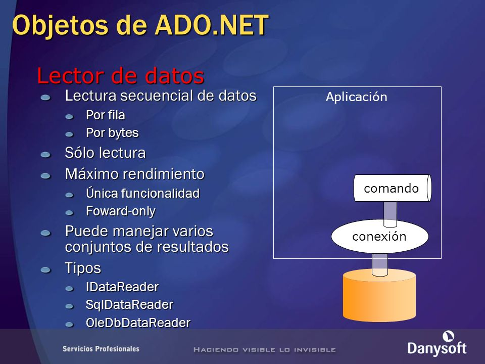 Objetos de ADO.NET Lector de datos Lectura secuencial de datos