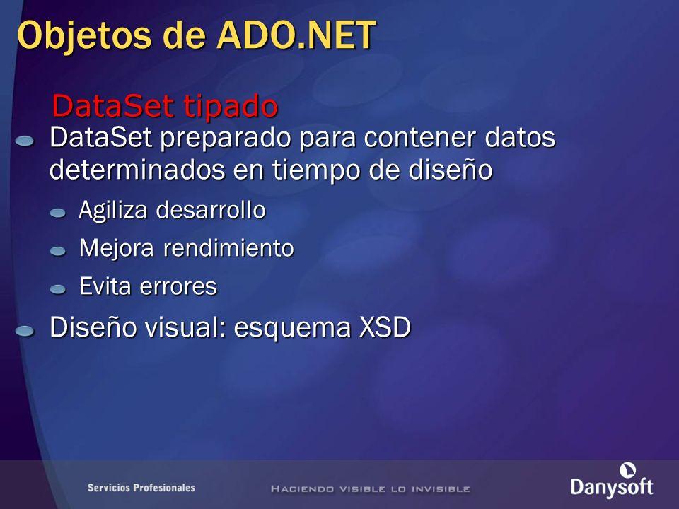 Objetos de ADO.NET DataSet tipado