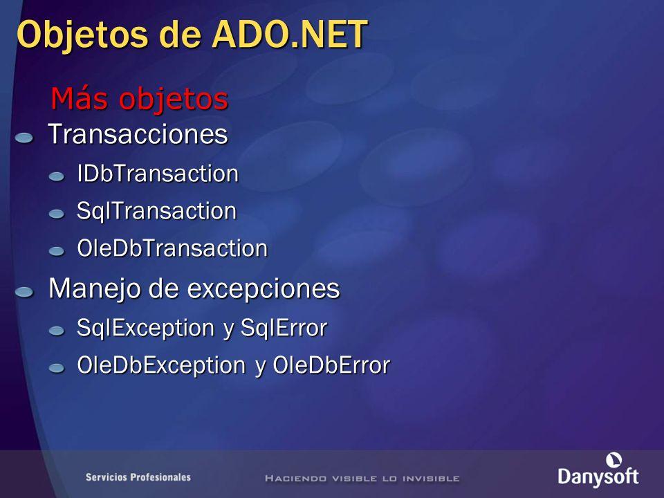Objetos de ADO.NET Más objetos Transacciones Manejo de excepciones