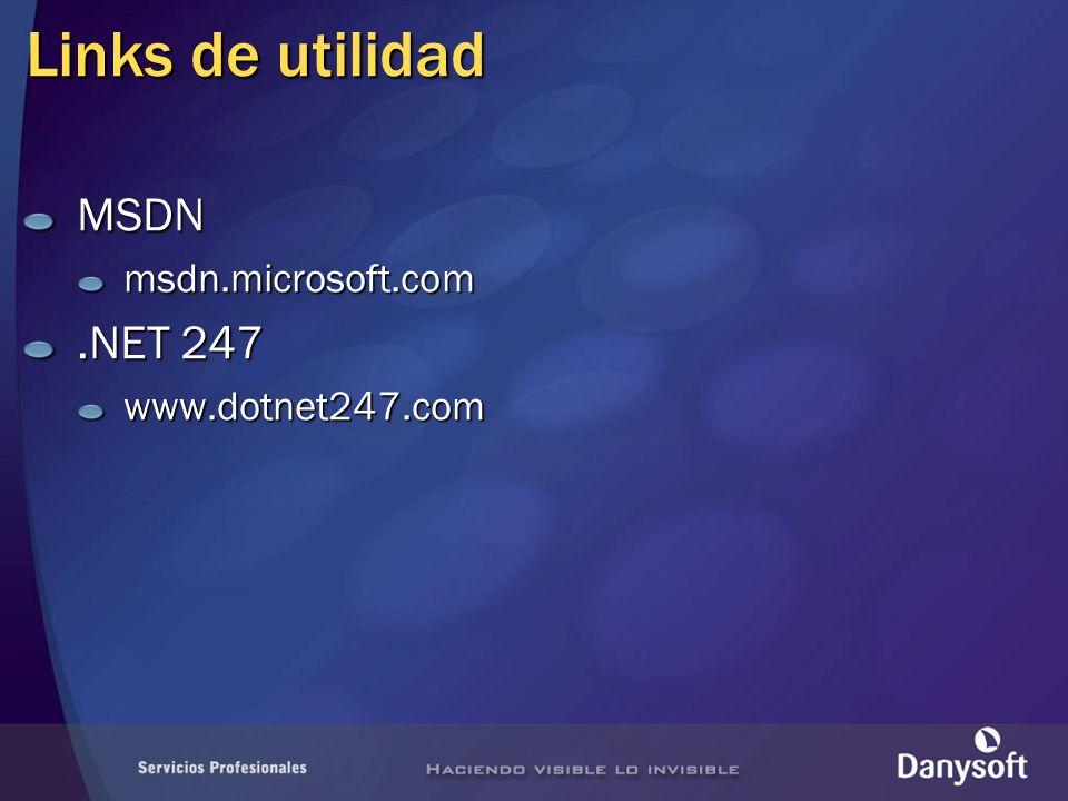 Links de utilidad MSDN msdn.microsoft.com .NET 247 www.dotnet247.com