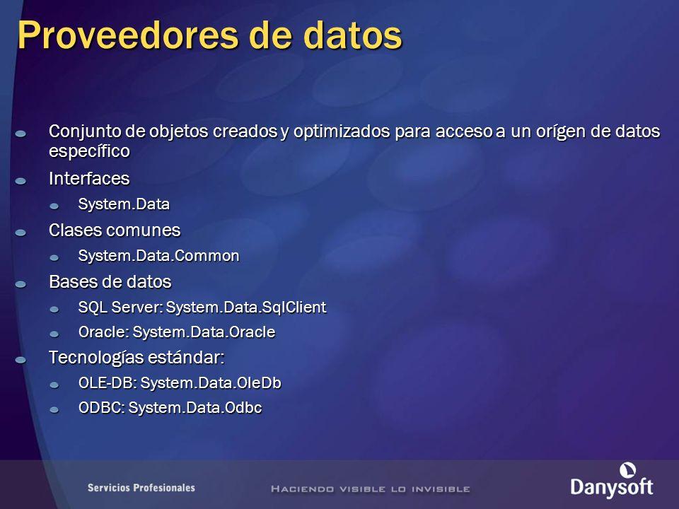Proveedores de datos Conjunto de objetos creados y optimizados para acceso a un orígen de datos específico.