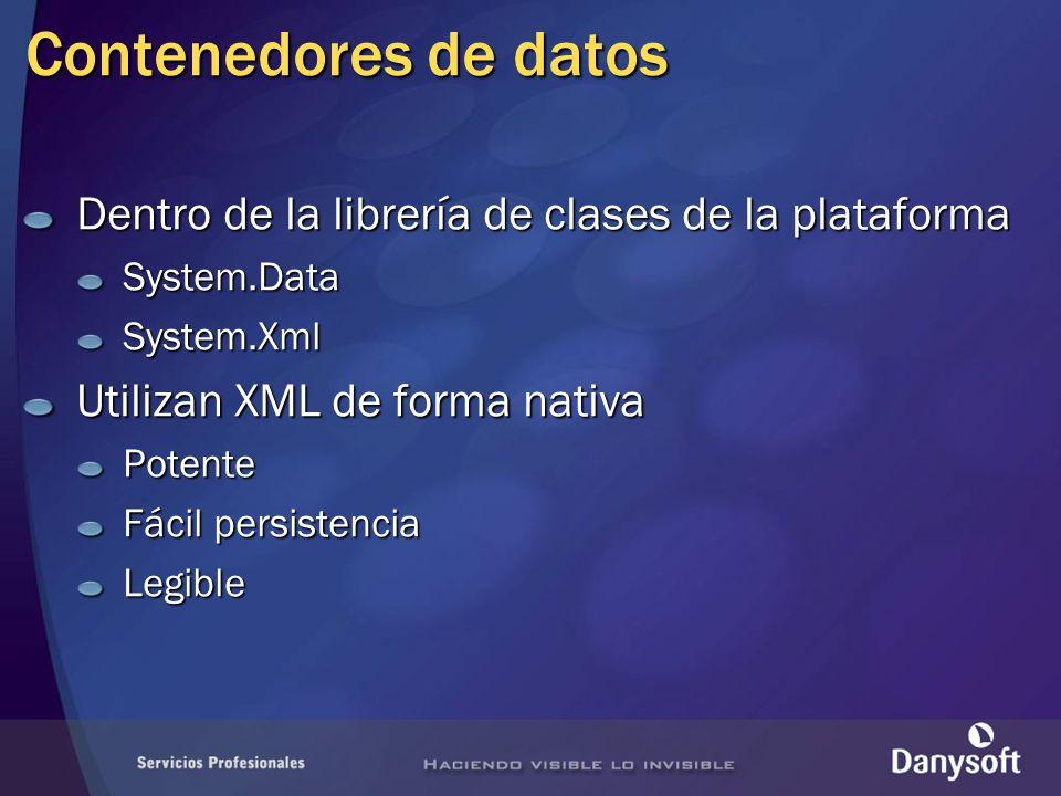 Contenedores de datos Dentro de la librería de clases de la plataforma