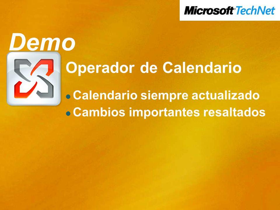 Demo Demo Operador de Calendario Calendario siempre actualizado