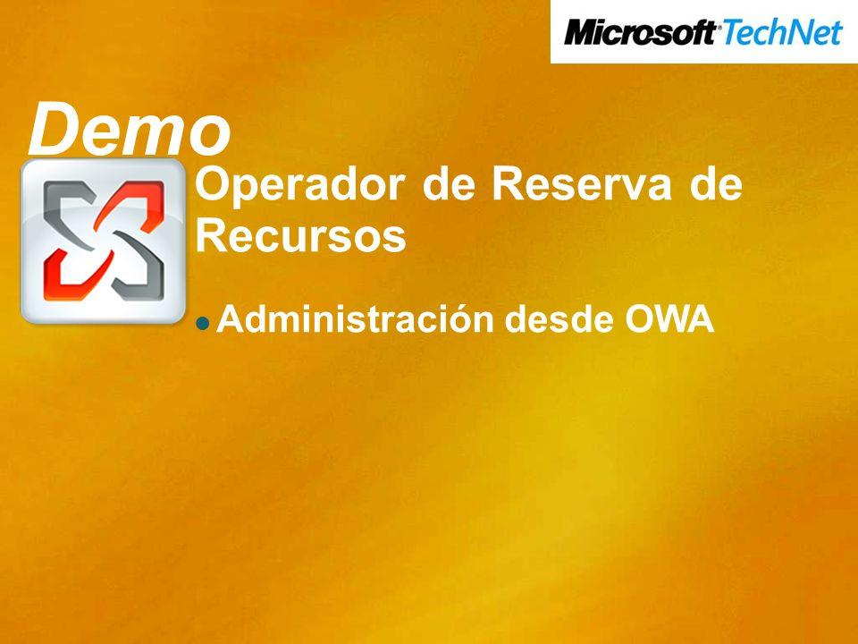 Demo Demo Operador de Reserva de Recursos Administración desde OWA