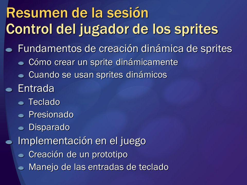 Resumen de la sesión Control del jugador de los sprites