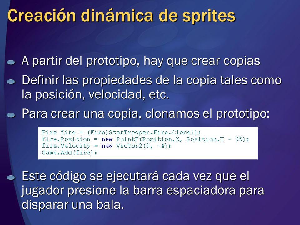 Creación dinámica de sprites