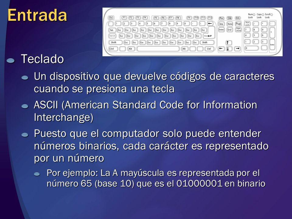 Entrada Teclado. Un dispositivo que devuelve códigos de caracteres cuando se presiona una tecla.