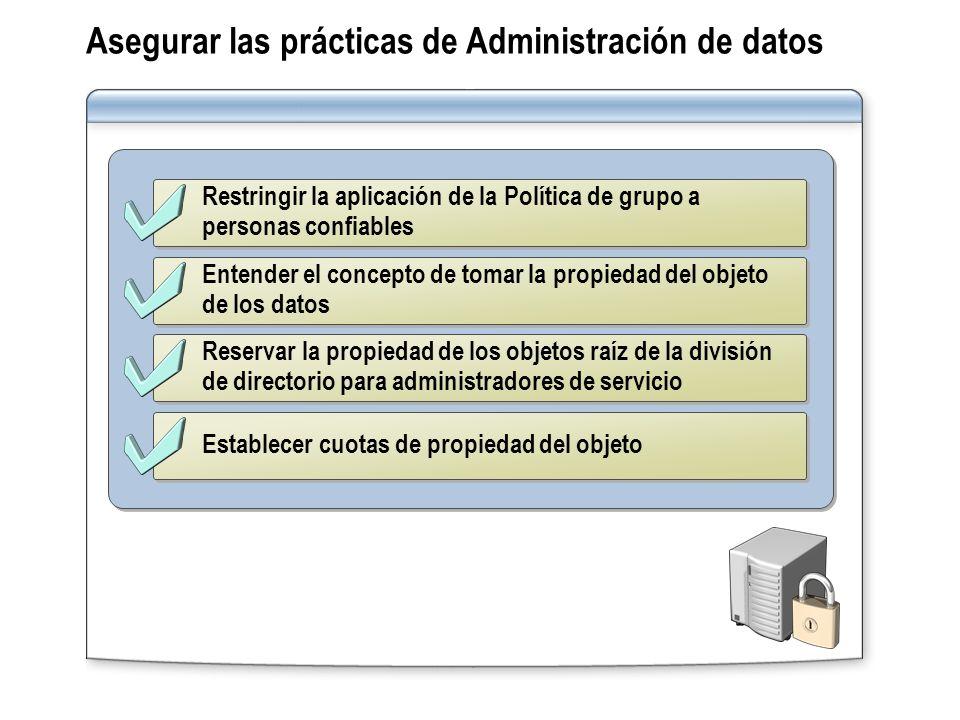 Asegurar las prácticas de Administración de datos