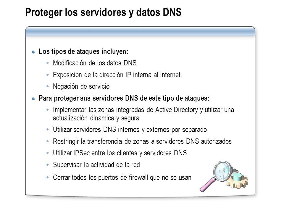Proteger los servidores y datos DNS