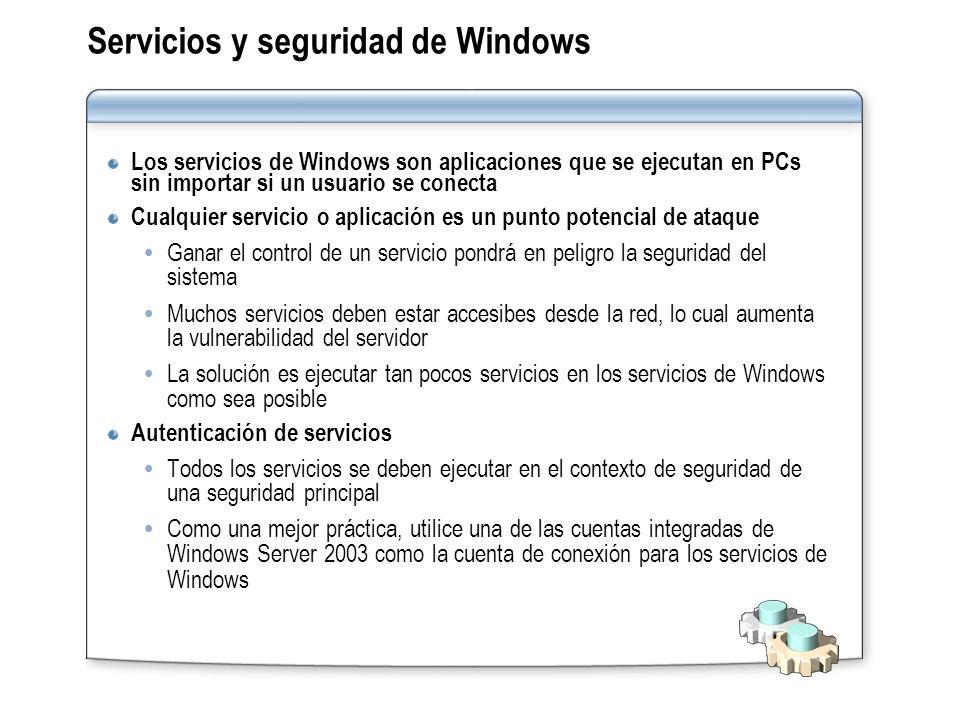 Servicios y seguridad de Windows