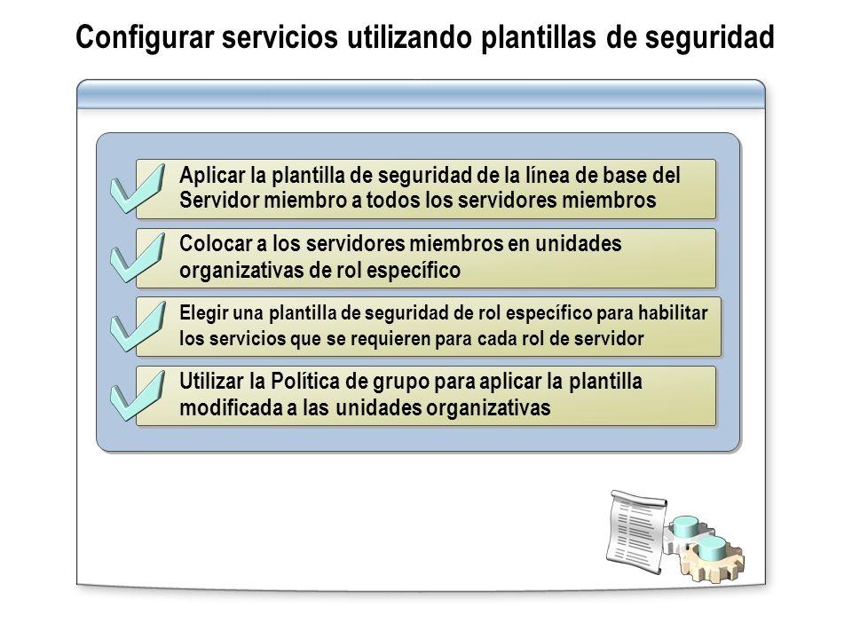 Configurar servicios utilizando plantillas de seguridad