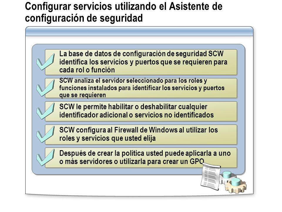 Configurar servicios utilizando el Asistente de configuración de seguridad