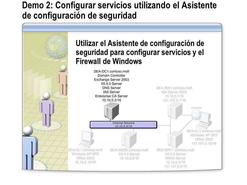 Demo 2: Configurar servicios utilizando el Asistente de configuración de seguridad