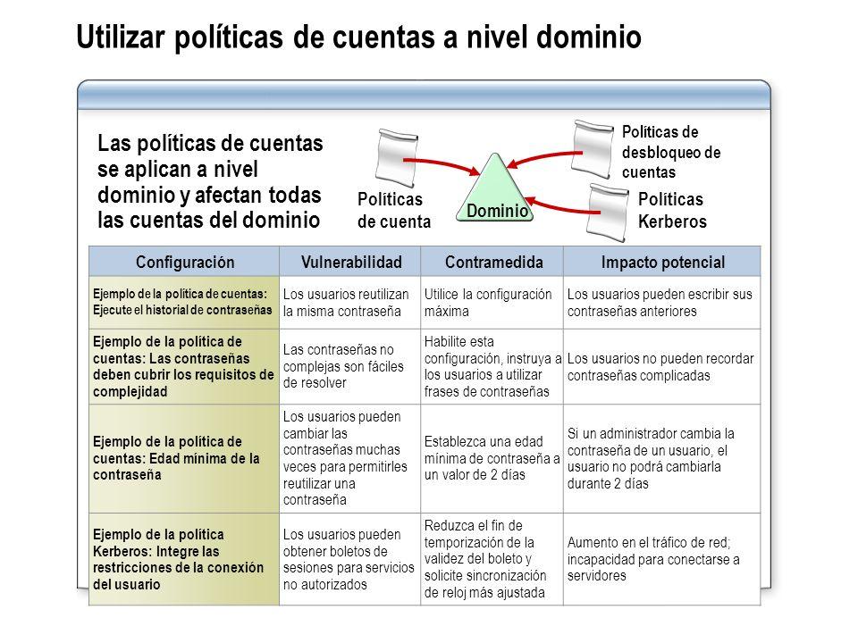 Utilizar políticas de cuentas a nivel dominio