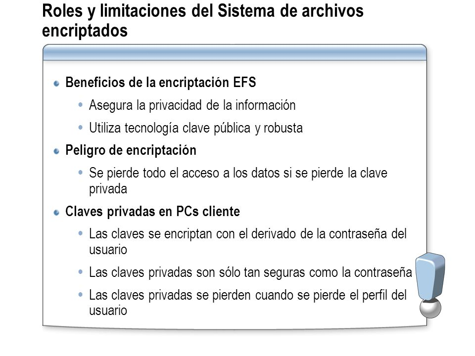 Roles y limitaciones del Sistema de archivos encriptados