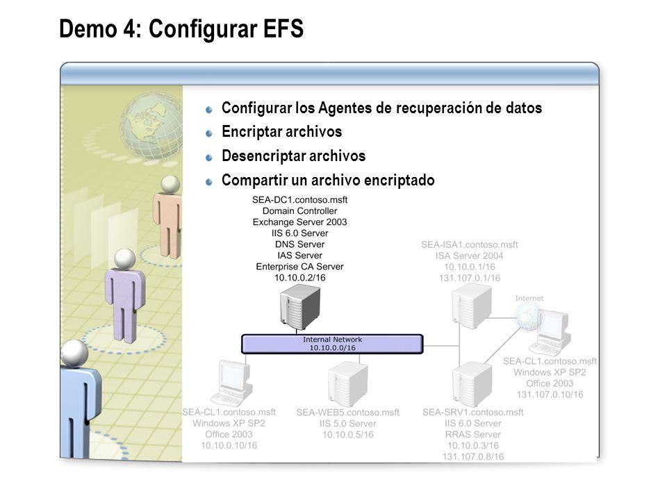 Demo 4: Configurar EFS Configurar los Agentes de recuperación de datos