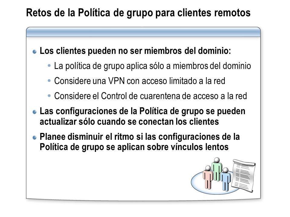 Retos de la Política de grupo para clientes remotos
