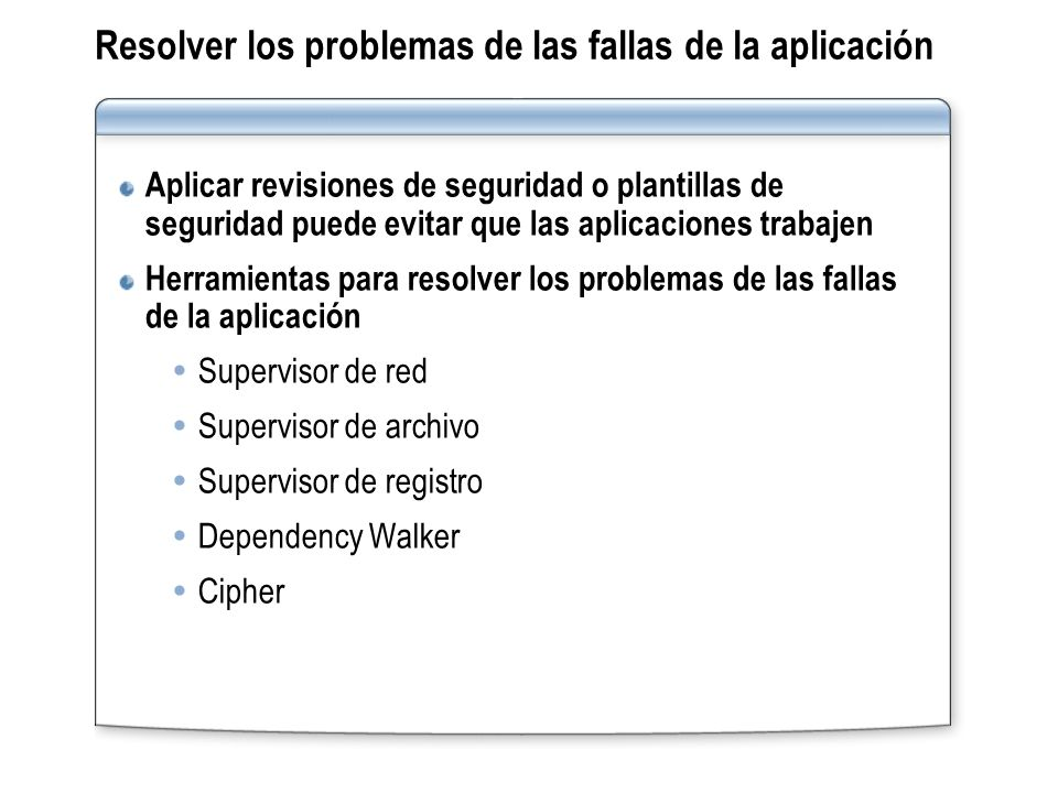 Resolver los problemas de las fallas de la aplicación