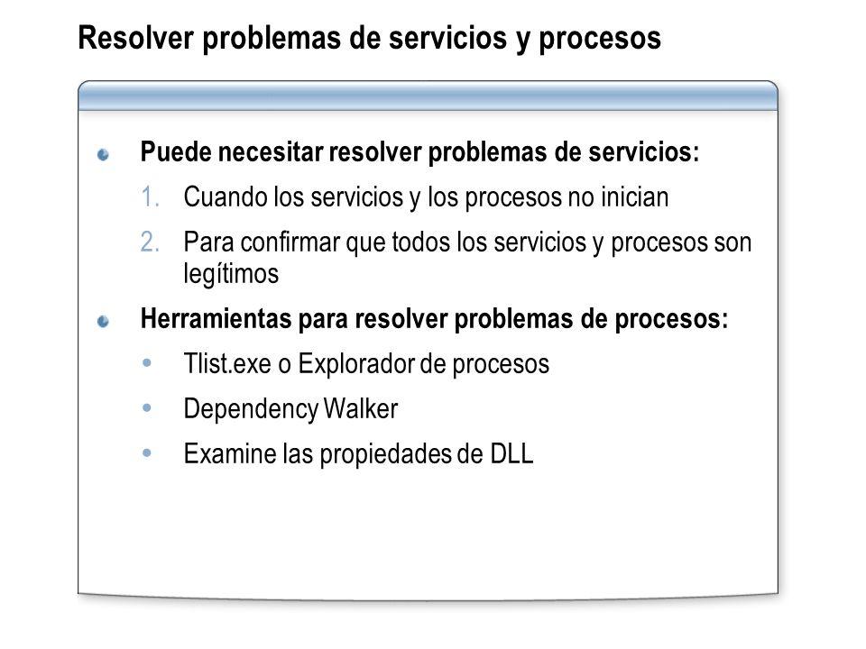 Resolver problemas de servicios y procesos