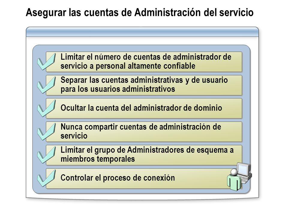 Asegurar las cuentas de Administración del servicio
