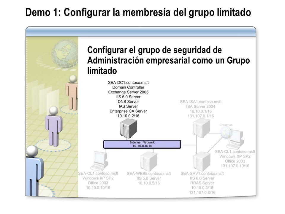 Demo 1: Configurar la membresía del grupo limitado