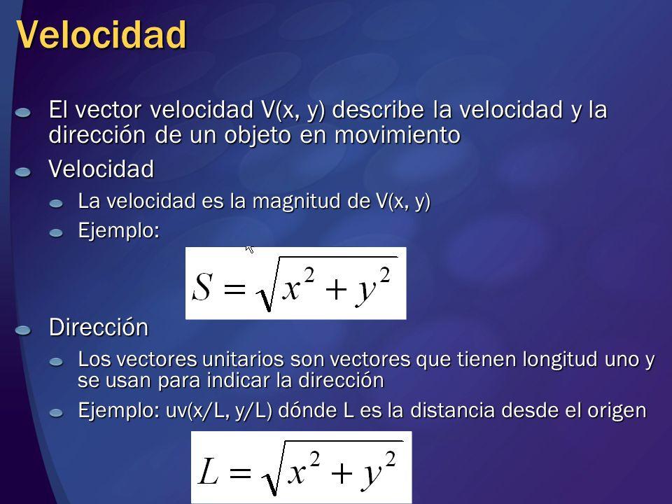 Velocidad El vector velocidad V(x, y) describe la velocidad y la dirección de un objeto en movimiento.