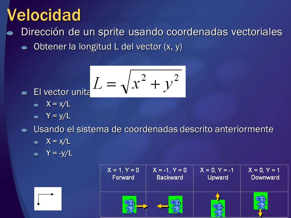 Velocidad Dirección de un sprite usando coordenadas vectoriales