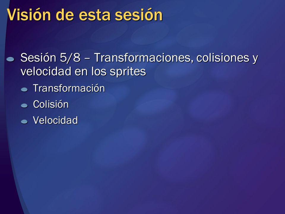 Visión de esta sesión Sesión 5/8 – Transformaciones, colisiones y velocidad en los sprites. Transformación.